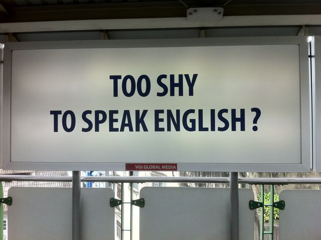 TOO SHY TO SPEAK ENGLISH