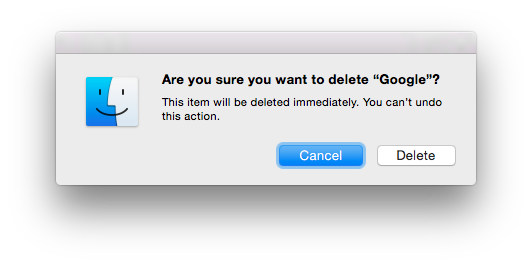 Delete file/folder dialog with folder name of Google