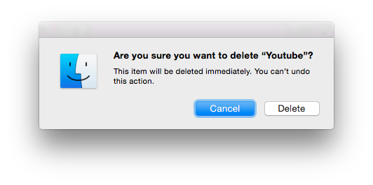 Delete file/folder dialog with folder name of Youtube