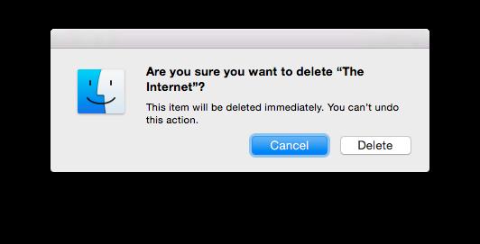 Delete file/folder dialog with folder name of The Internet