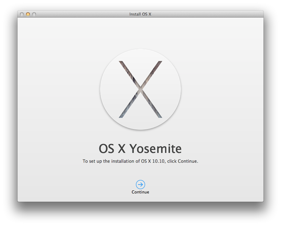 Yosemite Install Screen